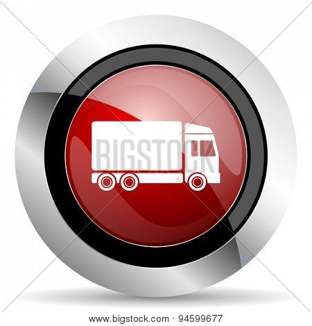 delivery red glossy web icon original modern design for web and mobile app on white background