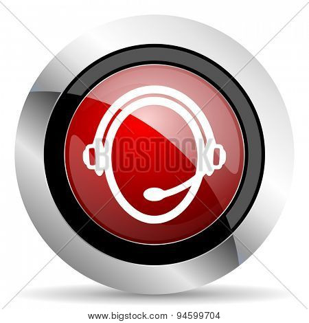 customer service red glossy web icon original modern design for web and mobile app on white background
