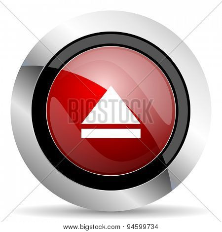 eject red glossy web icon original modern design for web and mobile app on white background