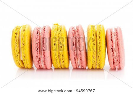 Colorful macaron cookies. Isolated on white background