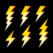 stock photo of lightning bolts  - The vector illustration of lightning symbols  - JPG