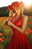 foto of headband  - fashion outdoor photo of beautiful sexy girl with blond hair in elegant dress and flower - JPG