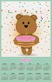 stock photo of cute bears  - Illustration calendar for 2016 in kids toys design with cute teddy bear with cake - JPG