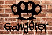 image of gangster  - Gangster graffiti on brick wall background  - JPG