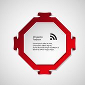 foto of octagon  - Illustration infographic with a shape of red octagon with folded corners and second white in front with space for own text - JPG
