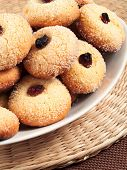 foto of hazelnut  - Homemade cookies with hazelnuts on a plate - JPG