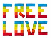stock photo of gay flag  - Text Free Love drawn up in the form of a rainbow flag - JPG