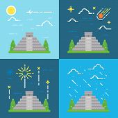 picture of yucatan  - Flat design 4 styles of Chichen Itza Yucatan Mexico illustration vector - JPG