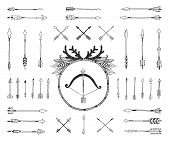 pic of bow arrow  - Hand drawn tribal collection with indian arrows - JPG