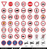 Постер, плакат: Set of road signs Collection of mandatory and prohibition traffic signs Vector illustration