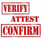 image of confirmation  - Set of grunge rubber stamps with text Verify - JPG