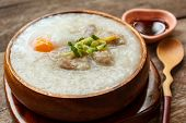 image of porridge  - porridge with egg and liver traditional chinese food - JPG