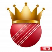 picture of cricket ball  - Cricket ball with royal crown - JPG