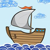picture of sails  - Sailing ship in the sea - JPG