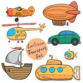 picture of helicopters  - Collection of various funny hand-drawn transports - vector illustration. Travel set with retro cars ship helicopter zeppelin and submarine. Graphic vintage set in cartoon style. - JPG