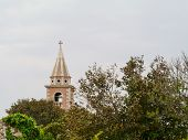 picture of mary  - The tower of the Paris church assumption of Mary in the village Olib in Croatia - JPG