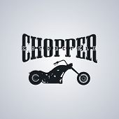 image of chopper  - classic chopper motorcycle theme vector art illustration - JPG