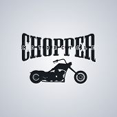 pic of chopper  - classic chopper motorcycle theme vector art illustration - JPG