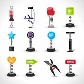 image of bouncing  - Metal spring devices set with shock absorber and bounce spiral isolated vector illustration - JPG