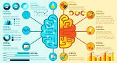 foto of right brain  - Left and right brain hemisphere functions infographics set with charts vector illustration - JPG
