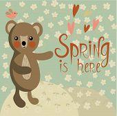 pic of cute bears  - Sweet romantic card with cute bear on a spring meadow - JPG