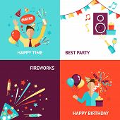 picture of birthday hat  - Party design concept set with birthday fireworks flat icons isolated vector illustration - JPG