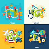pic of geography  - Gps navigation location cartography and geography tools accessories and symbol flat icon set isolated vector illustration - JPG
