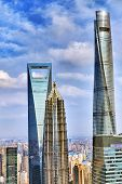 picture of skyscrapers  - Beautiful and office skyscrapers city building of Pudong Shanghai China - JPG