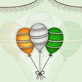 image of indian independence day  - Happy Independence Day cleebration with Indian national tricolor balloons on stylish background - JPG