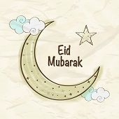 foto of crescent  - Elegant greeting card design with crescent moon and star on clouds for holy festival of Muslim community - JPG