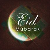 pic of eid festival celebration  - Elegant greeting card design with shiny crescent moon on grungy background for Muslim community festival - JPG