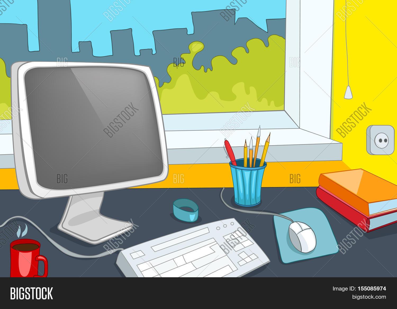 Hand Drawn Cartoon Of Modern Office Interior Colourful