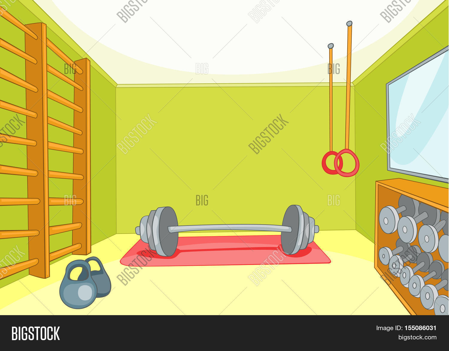 hand drawn cartoon gym room image photo bigstock. Black Bedroom Furniture Sets. Home Design Ideas