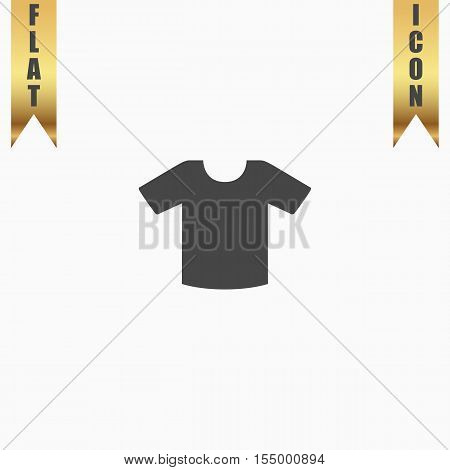 Tee-shirt design template. Flat Icon. Vector illustration grey symbol on white background with gold ribbon
