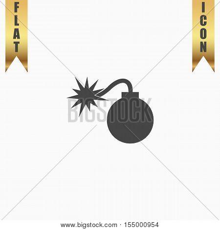 Bomb. Flat Icon. Vector illustration grey symbol on white background with gold ribbon