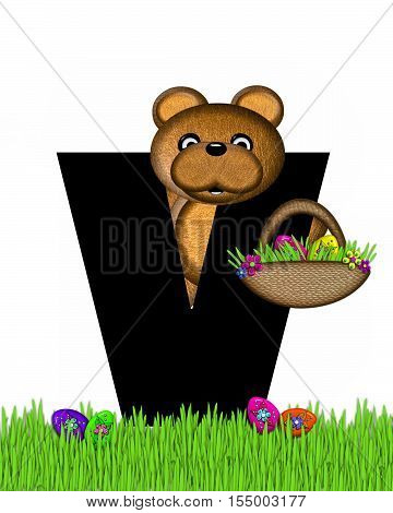 Alphabet Teddy Hunting Easter Eggs V