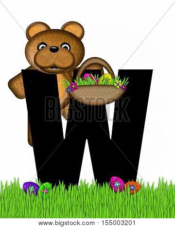 Alphabet Teddy Hunting Easter Eggs W