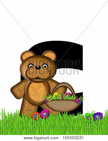 Alphabet Teddy Hunting Easter Eggs C