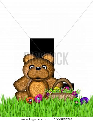 Alphabet Teddy Hunting Easter Eggs L