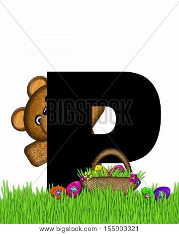 Alphabet Teddy Hunting Easter Eggs P