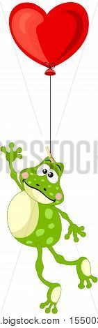 Scalable vectorial image representing a frog flying with heart balloon, isolated on white.