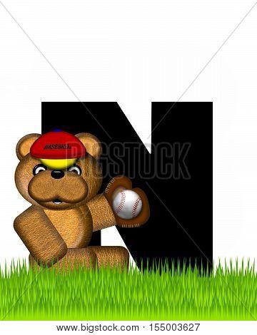 Alphabet Teddy Baseball N
