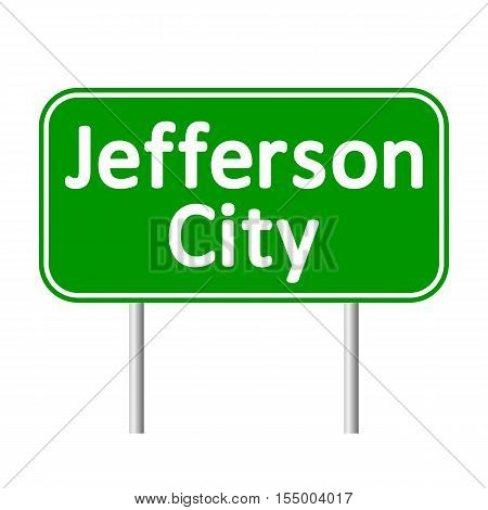 Jefferson City green road sign isolated on white background.