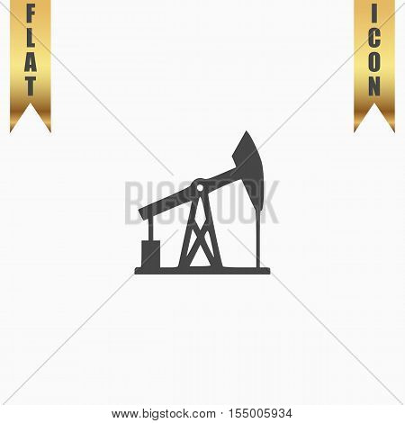 Oil derrick. Flat Icon. Vector illustration grey symbol on white background with gold ribbon