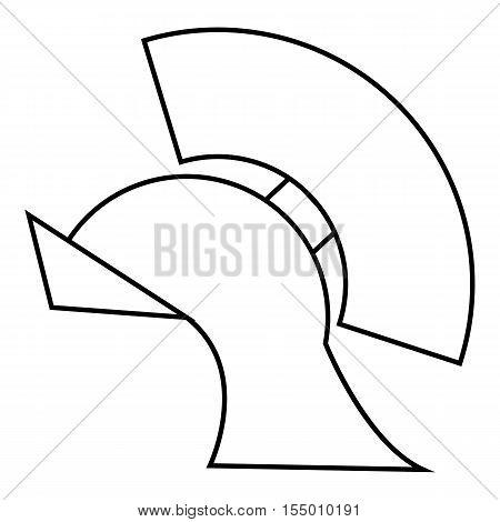 Gladiator helmet icon. Outline illustration of gladiator helmet vector icon for web