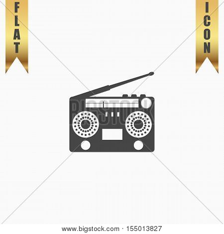 Classic 80s boombox. Flat Icon. Vector illustration grey symbol on white background with gold ribbon