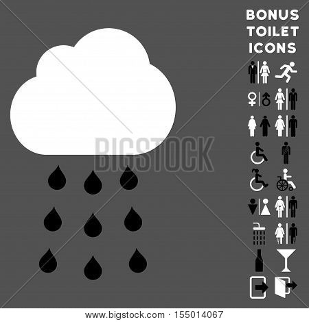 Rain Cloud icon and bonus gentleman and woman restroom symbols. Vector illustration style is flat iconic bicolor symbols, black and white colors, gray background.