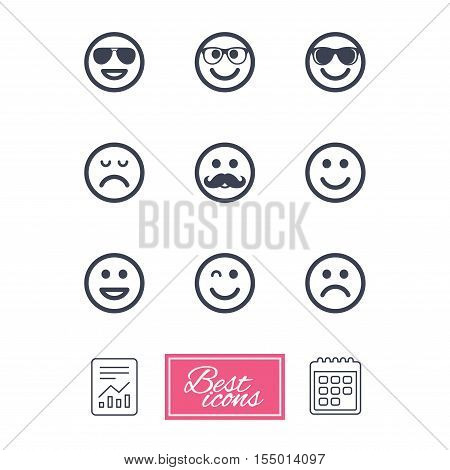 Smile icons. Happy, sad and wink faces signs. Sunglasses, mustache and laughing lol smiley symbols. Report document, calendar icons. Vector