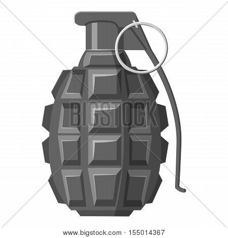 Grenade icon. Gray monochrome illustration of grenade vector icon for web