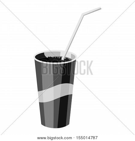 Glass with straw icon. Gray monochrome illustration of glass with straw vector icon for web